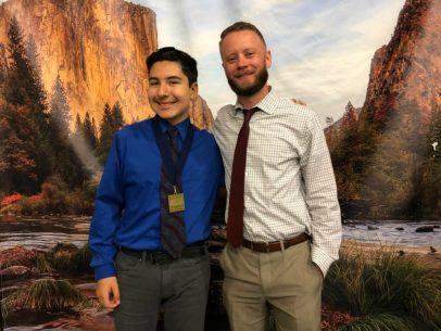 Student Maverick Malfavon and teacher Erik Peterson