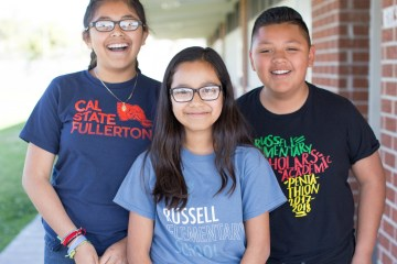 Three students from Russell Elementary School