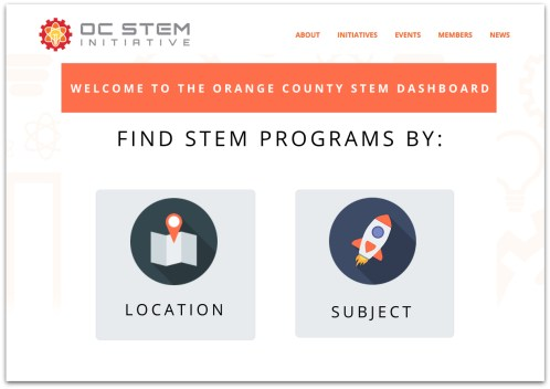 Screenshot of the OC STEM Dashboard