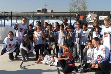 Team USA hockey players and students