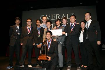 Students posing for a photo after winning the Orange County Academic Decathlon