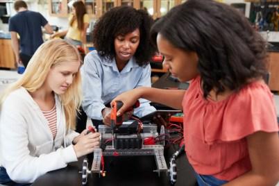 Students working on robotics