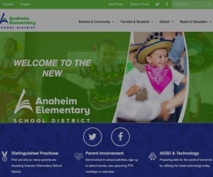 A screenshot of the Anaheim Elementary School District's new website