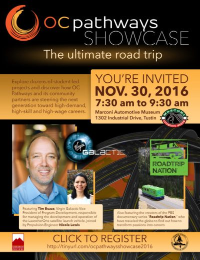 The invitation to the OC Pathways Showcase on Nov. 30