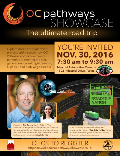 An image showing the invitation to the OC Pathways Showcase on Nov. 30