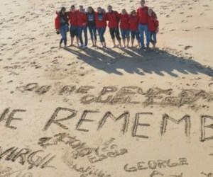 Students on a beach in Normandy, France
