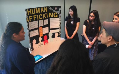 Loara High School students present a research project on human trafficking