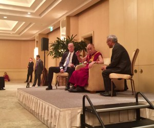 The Dalai Lama with Anaheim Mayor Tom Tait