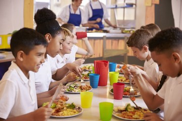 students eating lunch in school cafeteria