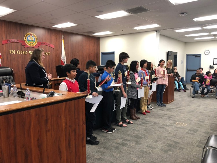The nine third-place finishers in the Orange County Spelling Bee