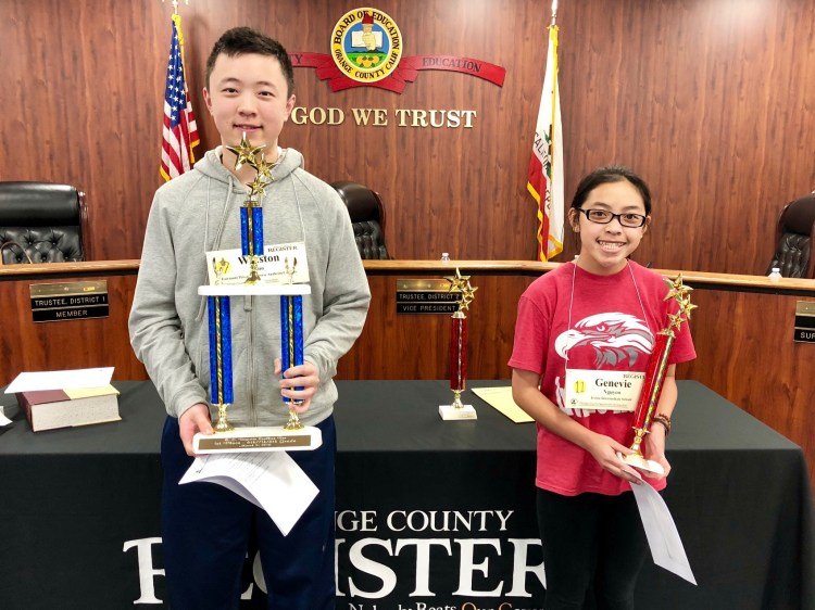 Eighth-grader Winston Zuo of Fairmont Private Schools' Historic Anaheim Campus and Genevie Nguyen of Irvine Intermediate School in the Garden Grove Unified School District