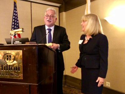 Ron Wenkart and OCSBA First Vice President Francine Scinto