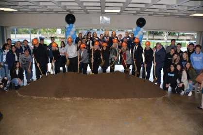 Orange Unified representatives pose with shovels