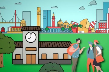 Animated graphic of people and buildings