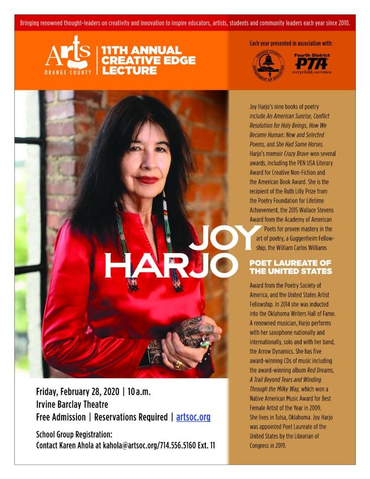 2020 Creative Edge Lecture flyer featuring Joy Harjo