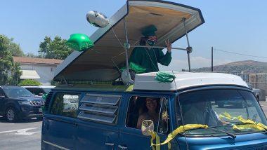 Graduate in car