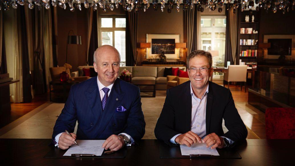 Marcus Bernhardt, PDG Steigenberger Hotels AG/Deutsche Hospitality, Dr. Jan Becker, PDG Porsche Design Group, g.d., 2021, Porsche AG