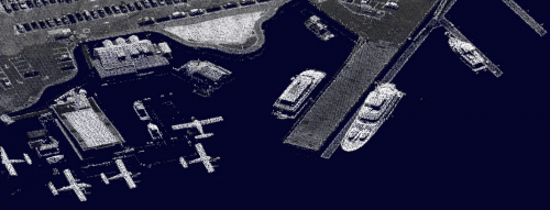 LiDAR point cloud displays a view of the harbor in Victoria, BC colored by point