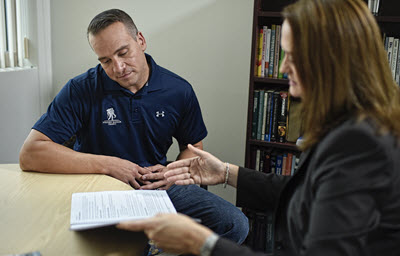 Bill Geiger receiving veteran counseling for PTSD and mental health
