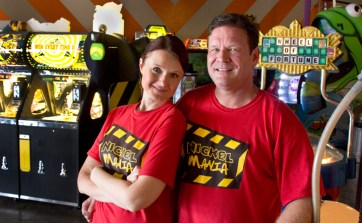 Jim and Olga Rowej, owners of Nickel Mania Arcade in Carrollton, Texas. [click image for Hi-Res image]