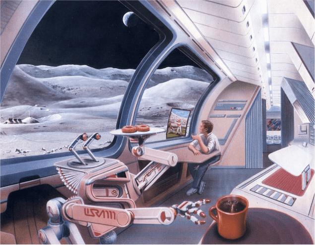 В исполнении художника Лунная база. Кредит: Джон Спенсер / Космический туризм Общество.