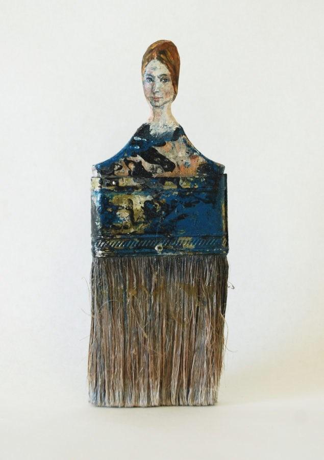 """""""Неназванный (синий)"""" (2013). Масло, акриловая краска на вырезанной кисти."""
