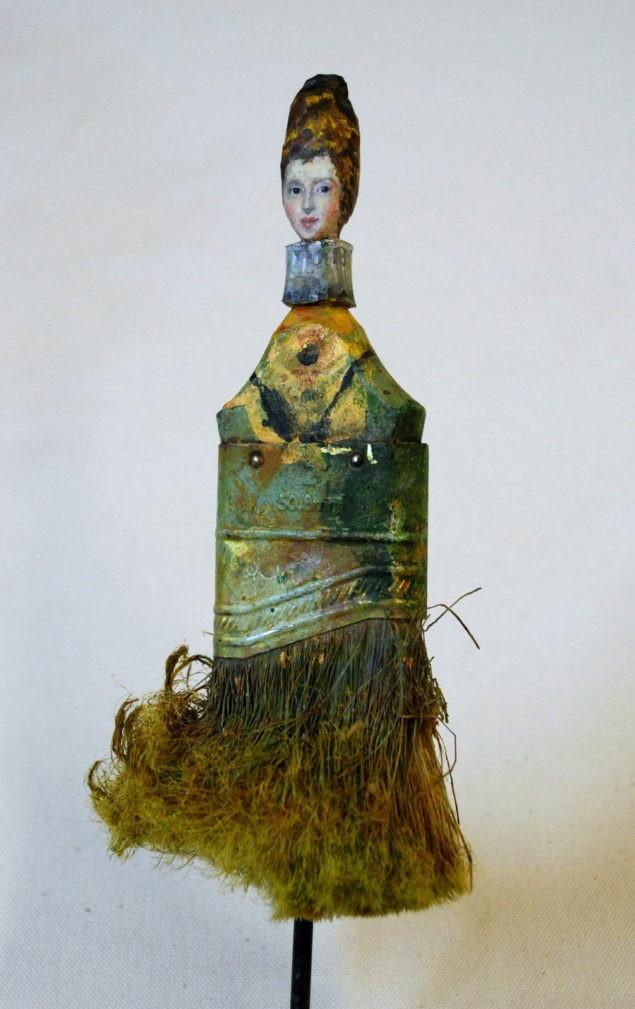 """""""Doña Hongari (после Веласкеса)"""" (2011). Масло на вырезанной кисти."""