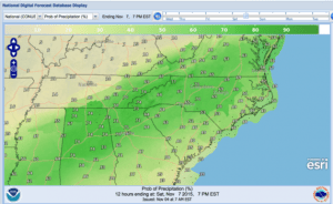 The map from the National Weather Service shows rain probability throughout South Carolina this weekend.