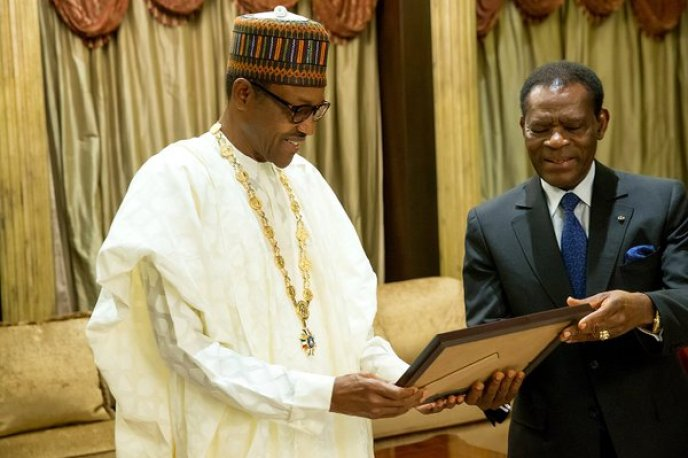 Buhari in Guinea - Photo: Nigeria Buhari receives highest honour in Equatorial Guinea