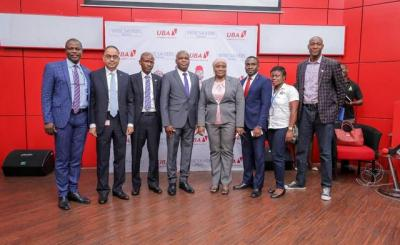 Group Head, Customer Service and Complaints Management, United Bank for Africa (UBA) Plc, Prince Ayewoh; Group Executive, Digital & Consumer Banking, UBA Plc, Anant Rao; Officer CPC Lagos Office, Abideen Onifade; Executive Director, UBA Plc, Mr Liadi Ayoku; Regional Head, Lagos, UBA Plc; Aminat Tunji-Akinwande; Head, Retail Liabilities, Tomiwa Sotiloye; Marketing Monitoring and Enforcement Officer, National Lottery Regulatory Commission, Nwanneka Ezeani; and Coordinator, Advertising Practitioners Council of Nigeria(APCON), Rahmon Babatope Rafiu, at the First Quarter Draw of UBA Wise Savers Promo where 20 Savings Account Holders won N1.5m each, in Lagos on Tuesday