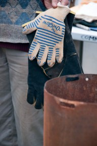 you'll need very good heat resistant gloves, at least 400 degrees celcius proof