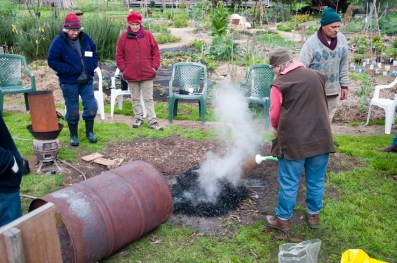 then pour a seaweed solution on cooling biochar, to help start the conditioning process