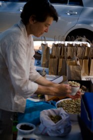 Selling garlic under the shade of the elms in Panmure Street during Newstead Live!