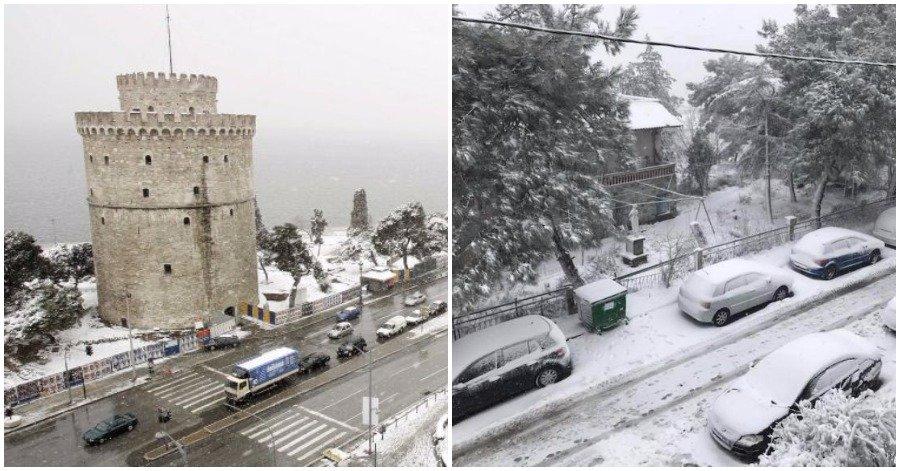 Συμβαίνει Τώρα: Πυκνό Χιόνι στον Λευκό Πύργο. Περιπέτεια για Μαθητές στην Κακοκαιρία…