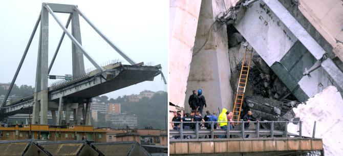 Συγκλονιστικά βίντεο δείχνουν την στιγμή που καταρρέει η γέφυρα στη Γένοβα