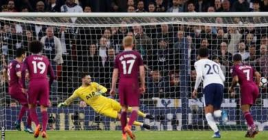 Man City one win from title after victory at Tottenham 4