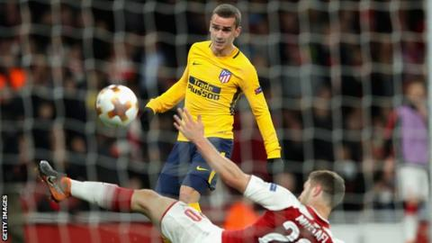 Arsenal concede late equaliser to 10-man Atletico 1