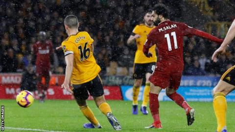 Wolves 0-2 Liverpool: Mohamed Salah helps Reds go four points clear 16