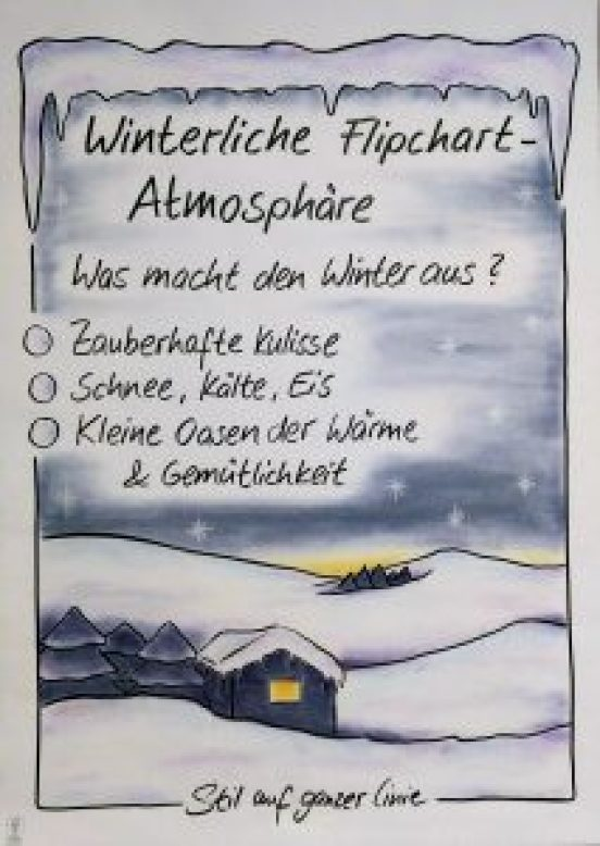 winterliches flipchart stilaufganzerlinie