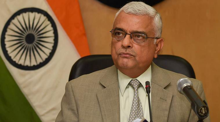 New Delhi: Chief Election Commissioner (CEC) O P Rawat announces the schedule for Karnataka elections at a press conference in New Delhi on Tuesday. Karnataka assembly polls will be held on May 12 and counting on May 15. PTI Photo by Subhav Shukla (PTI3_27_2018_000022B)