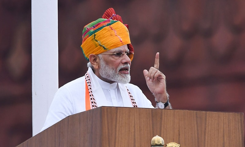 India's Prime Minister Narendra Modi delivers a speech to the nation during a ceremony to celebrate country's 73rd Independence Day, which marks the of the end of British colonial rule, at the Red Fort in New Delhi on August 15, 2019. (Photo by Prakash SINGH / AFP)
