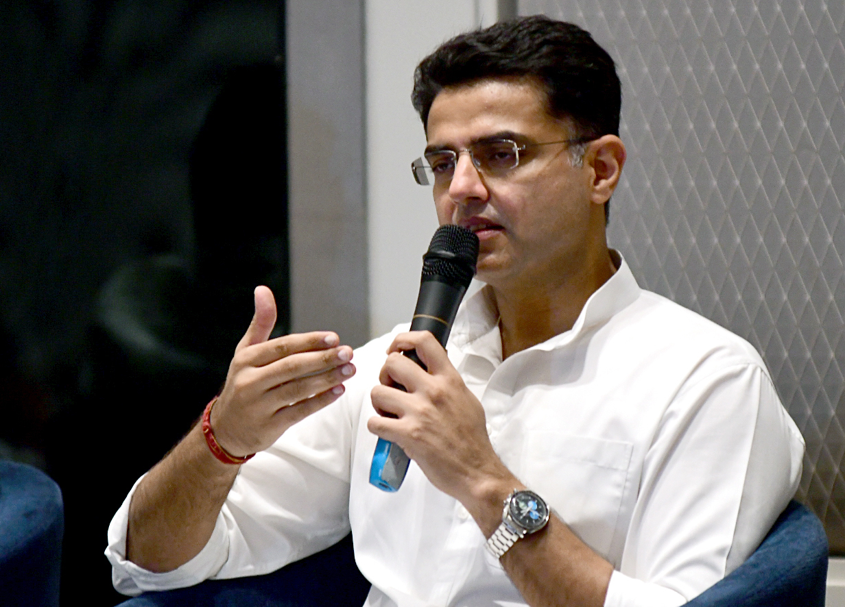 Rajasthan, July 14 (ANI): File photo of Sachin Pilot addresses during a joint press conference, in Jaipur. Sachin Pilot removed as Deputy CM of Rajasthan and also from the state PCC chief today. (ANI Photo)