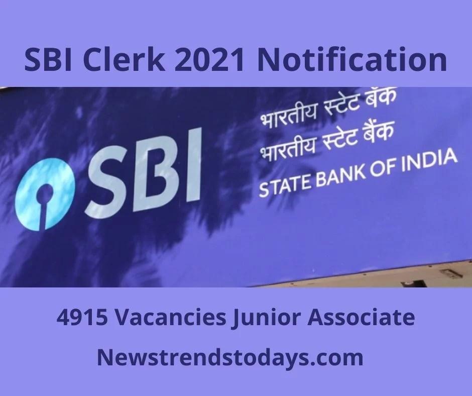 SBI Clerk 2021 Notification