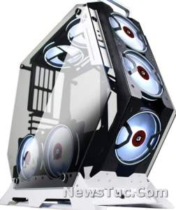 KEDIERS7 RGB Fans Mid Tower PC Tempered Glass Gaming Tower Case