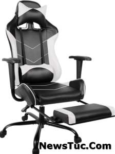 PU Leather Footrest Ergonomic Lumbar Support High Back Adults Gaming Chair