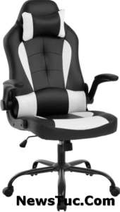 Armrests Headrest Ergonomic Lumbar Support High Back PU Leather PC Gaming Chair