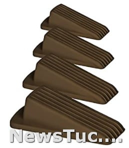 Tight Fit for Gaps Classic Rubber 4 Pack, Brown Multi Floor Wedge Door Stopper