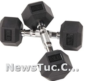 Excellent strong cast Rubber Encased Sporzon Hex Dumbbell Hand Weight Set