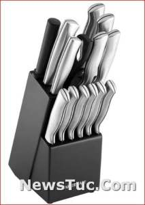 High Carbon Stainless Steel Farberware Stamped 15-Piece Knife Block Set