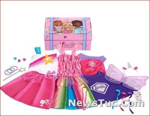 Dress Up Trunk Barbie 21-Piece Amazon Exclusive Baby Toy Doll